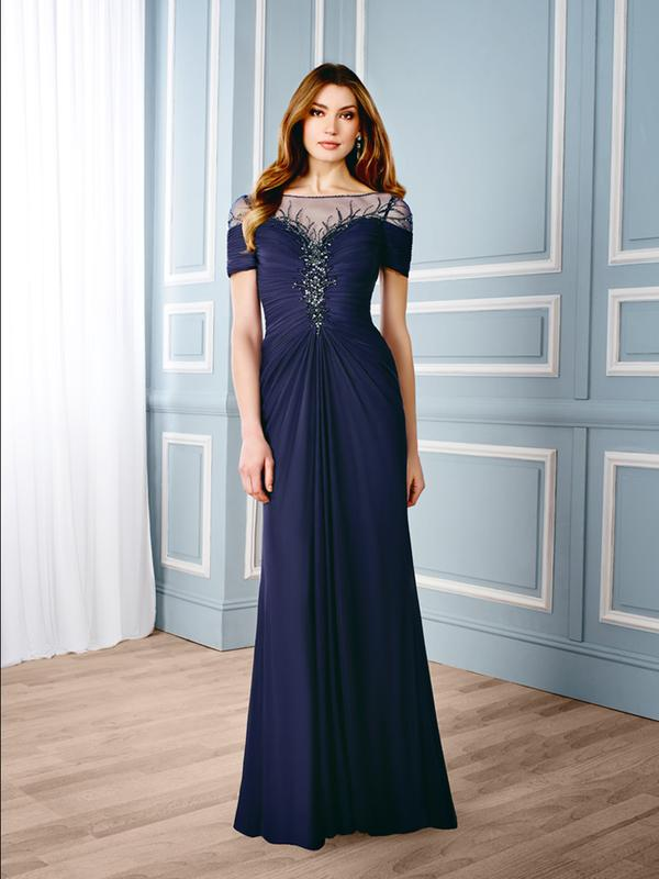 Val Stefani Celebrations MB7541 sophisticated natural waist mother of the bride gown with short sleeves