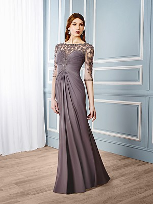 Val Stefani Celebrations MB7544 elegant mother of the bride trumpet gown with sheer embroidered sleeves
