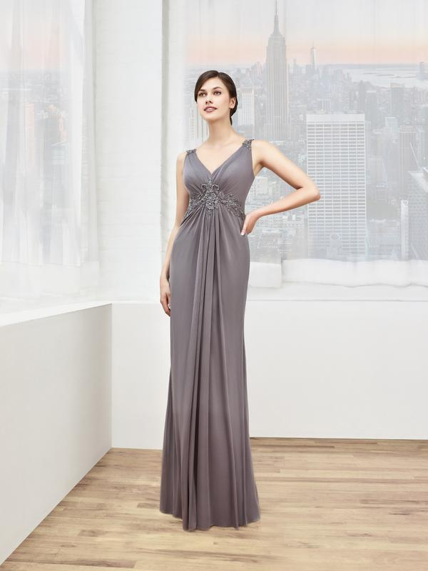 Val Stefani Celebrations MB7601 timeless v-neck trumpet evening gown with inverted basque waist