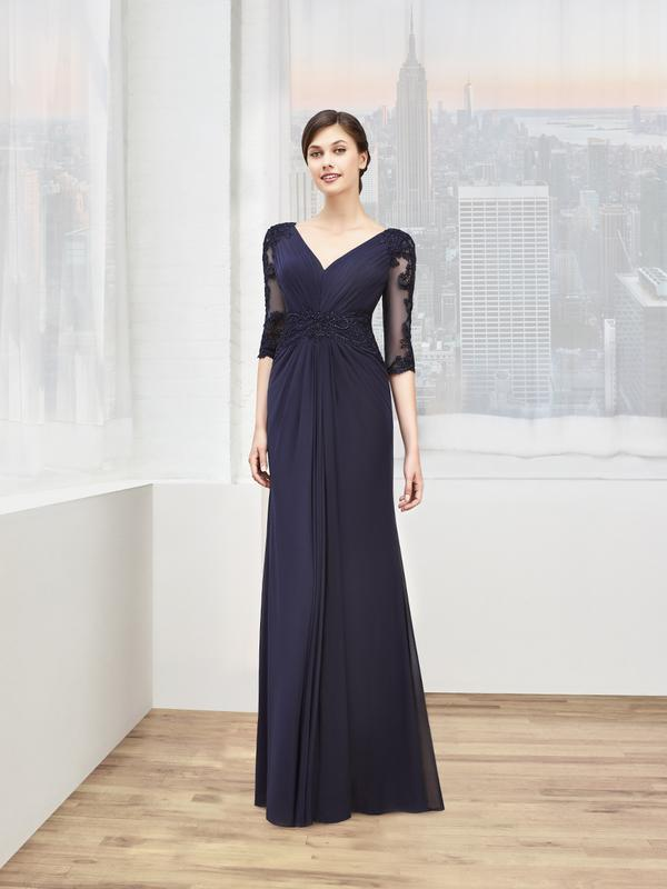 Val Stefani Celebrations MB7602 illusion 3/4 sleeves mother of the bride gown for winter wedding