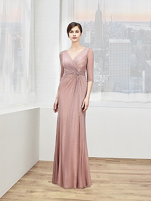 Val Stefani Celebrations MB7604 chic sheer 3/4 sleeves tulle & sequins mother of the bride gown