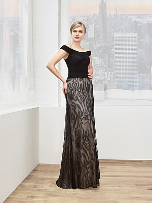 Val Stefani Celebrations MB7606 off-the-shoulder micro-ruched mesh mother of the bride gown