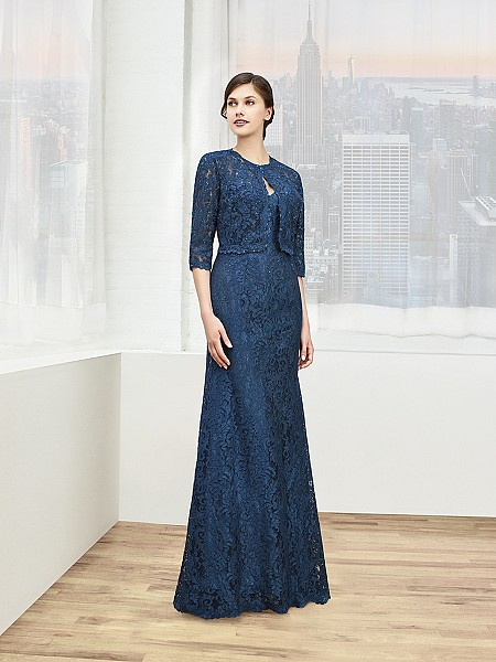 Val Stefani Celebrations MB7607 modest corded lace trumpet mother of the bride gown with jacket