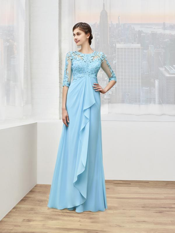 Val Stefani Celebrations MB7610 3/4 sleeves mother of the groom dress with empire waist cascade