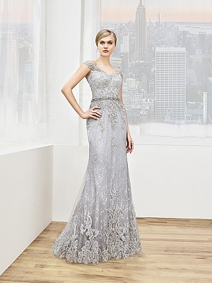 Val Stefani Celebrations MB7613 corded lace hem mother of the bride gown with beaded waist accent