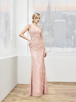 Val Stefani Celebrations MB7614 asymmetric waist mother of the bride dress with front skirt drape