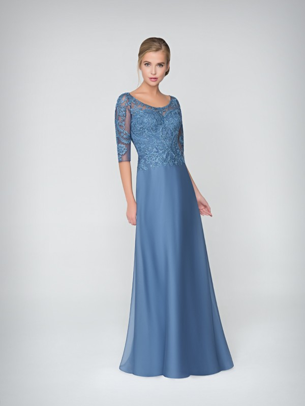 Val Stefani Celebrations MB7620 elegant chiffon A-line evening gown with lace scoop neck and 3/4 sleeves