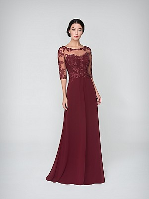 Val Stefani Celebrations MB7621 sophisticated chiffon A-line MOB gown with illusion bateau neck and elbow length sleeves