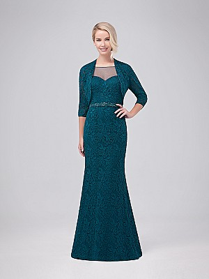 Val Stefani Celebrations MB7625 gorgeous lace sheath gown with matching 3/4 sleeve lace jacket