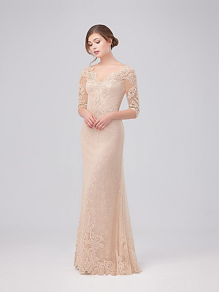 Val Stefani Celebrations MB7627 all-over lace and sequin A-line gown with V-neck and elbow length sleeves