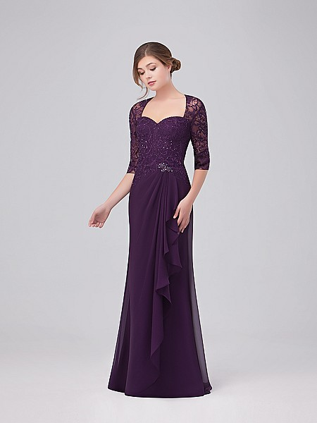 Val Stefani Celebrations MB7628 chiffon trumpet gown with lace Queen Anne neckline and cascading skirt