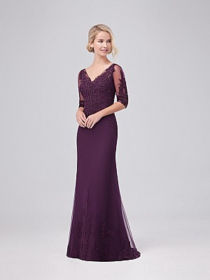Val Stefani Celebrations MB7630 popular tulle trumpet gown with V-neck and lace details