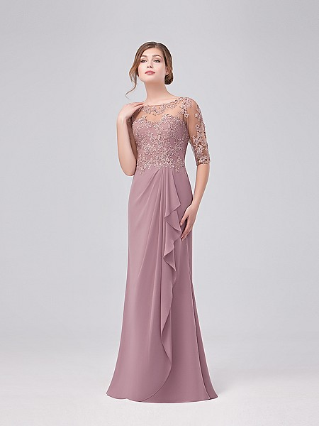 Val Stefani Celebrations MB7631 sophisticated lace trumpet with illusion bateau neck and cascading chiffon skirt