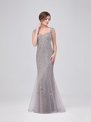 Val Stefani Celebrations MB7634 beaded tulle mermaid dress with luxurious lace appliques and cap sleeves