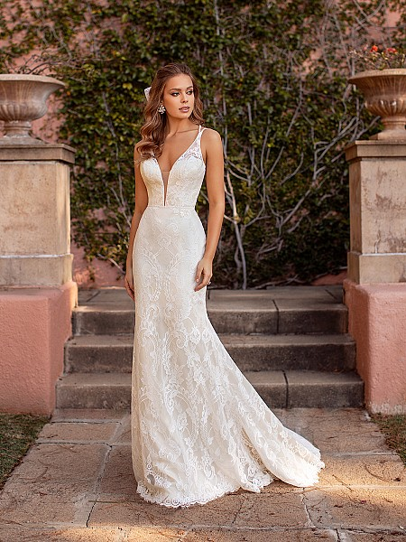 Delicate Lace Mermaid Bridal Gown with Deep Sweetheart Neckline and Illusion Double Straps Simply Val Stefani Reverie S2170