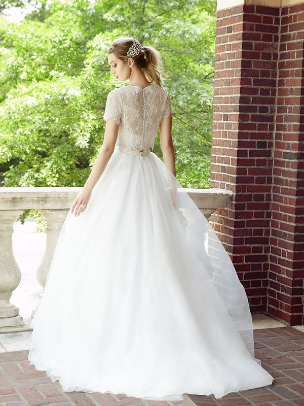 Simply Val Stefani style S2022 luxurious tulle bridal skirt with satin band and sweep train