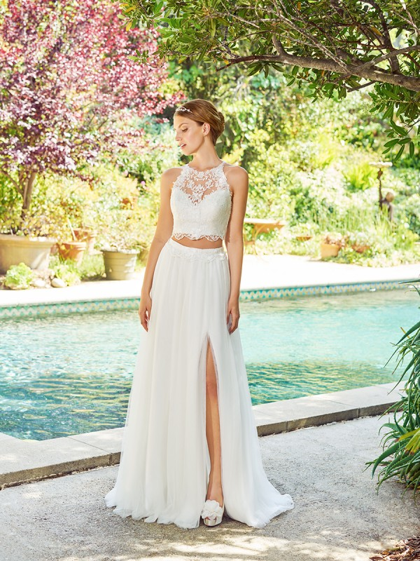 Simply Val Stefani S2055 sleeveless soft and romantic lace halter bridal crop top with scalloped hem