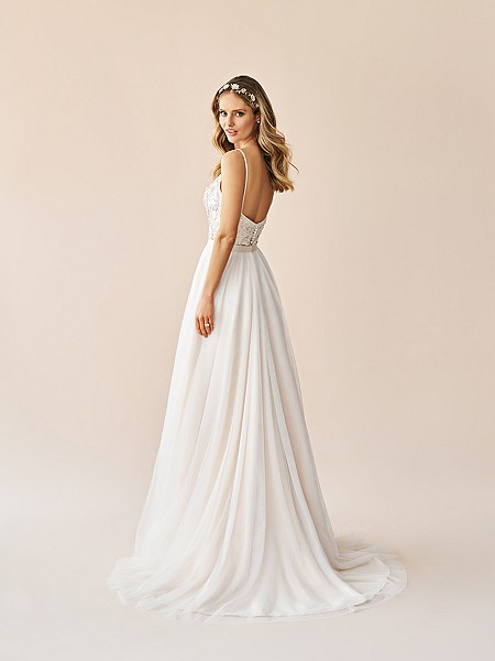 Simply Val Stefani S2063 soft tulle A-line skirt with chapel train and center back closure