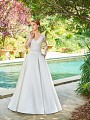 Simply Val Stefani S2064 elegant Mikado ball gown with pockets and short train