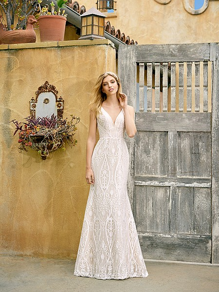 Simply Val Stefani S2072 stunning low sweetheart mermaid wedding gown with unique lace pattern