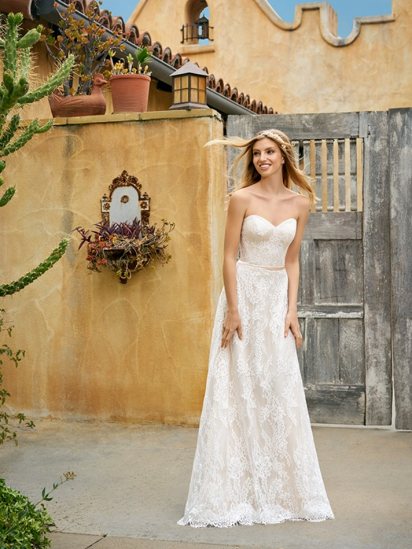 Simply Val Stefani S2073 simply flattering A-line with lace and couture satin band at waist