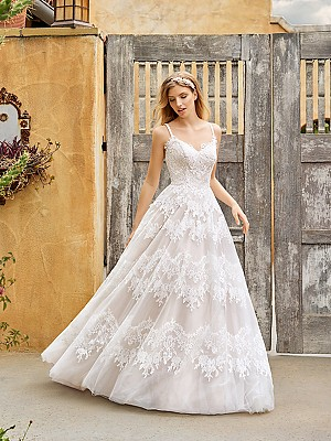 Simply Val Stefani S2075 rustic lace A-line wedding dress with straps