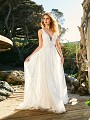 Simply Val Stefani S2081 light and rustic floor length lace wedding dress with plunging neckline and airy soft tulle skirt