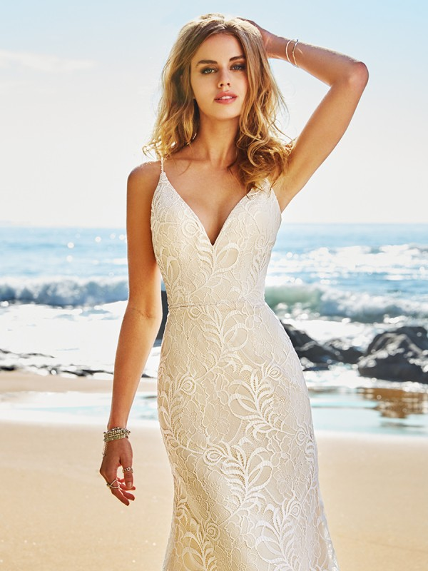 Simply Val Stefani S2082 casual lace embroidered mermaid wedding dress with slenderizing V-neckline