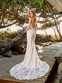 Simply Val Stefani S2087B simple all-lace bohemian wedding dress with long sheer train