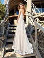 Simply Val Stefani S2090 rustic lace wedding dress with scallop embroidered lace and couture hem lace finish