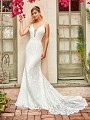Style CLOVER all lace figure flattering mermaid bridal gown with beaded straps and sash at waist