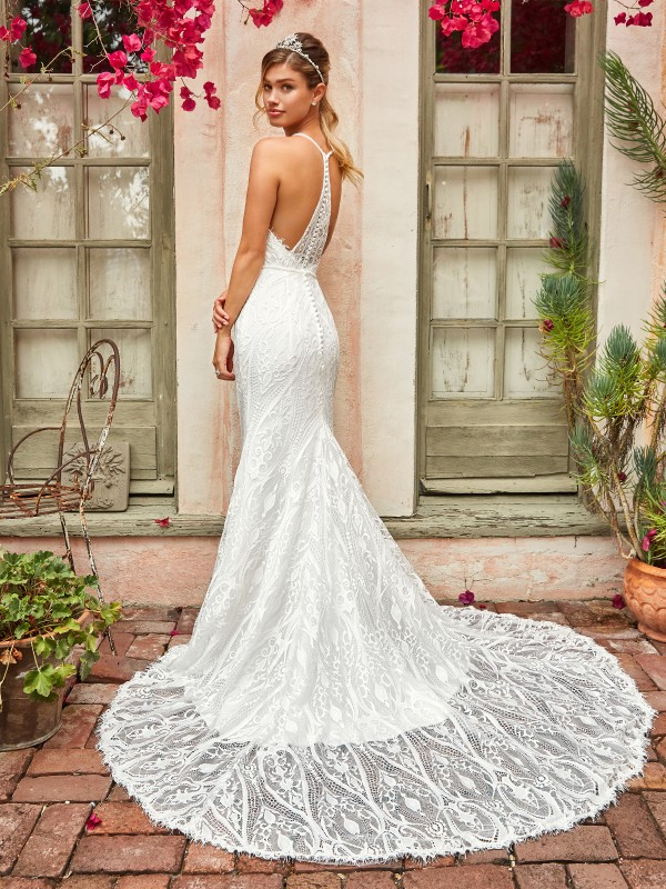 Style CLOVER enchanting ivory lace mermaid wedding gown with unique racerback and chapel train