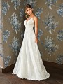 Style DAHLIA lacy dropped waist A-line wedding gown with deep v-neck and spaghetti straps in ivory