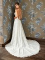 Style DAHLIA sexy strappy tie back A-line bridal dress with embroidered lace and chapel train