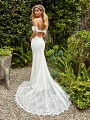 Style IVY elegant lace and tulle trumpet wedding dress with cutout at back waist and chapel train