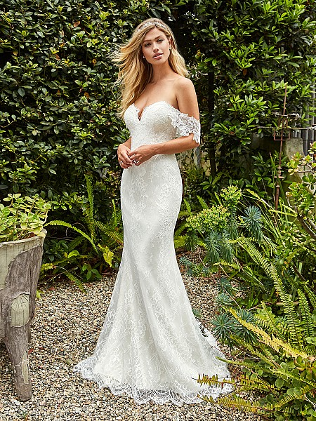 Style IVY boho trumpet bridal gown in ivory lace with sweetheart neckline and swag sleeves