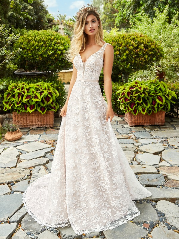 Style MARIGOLD classic deep v-neck A-line bridal gown with timeless sequin lace fabric in ivory and taupe