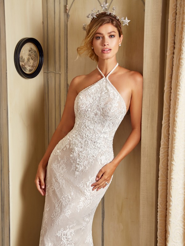 Style JUNIPER curve hugging high halter neck mermaid bridal gown in ivory lace fabric and taupe lining