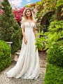 Style RIVER romantic floral lace A-line wedding gown with sweetheart neckline with illusion inset