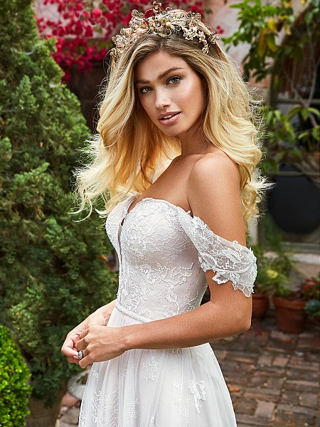 Style RIVER strapless sweetheart lace A-line bridal gown with swag sleeves in ivory and cashmere