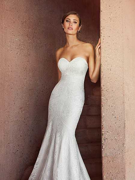 Simply Val Stefani AUGUSTA elegant strapless sweetheart lace fabric mermaid bridal gown