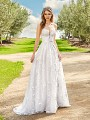 Simply Val Stefani CAYLEY embroidered lace fabric A-line wedding dress with side pockets at skirt