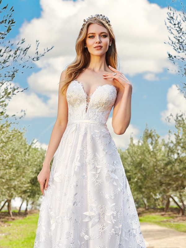 Simply Val Stefani CAYLEY deep sweetheart with illusion inset A-line bridal gown with satin band at natural waist