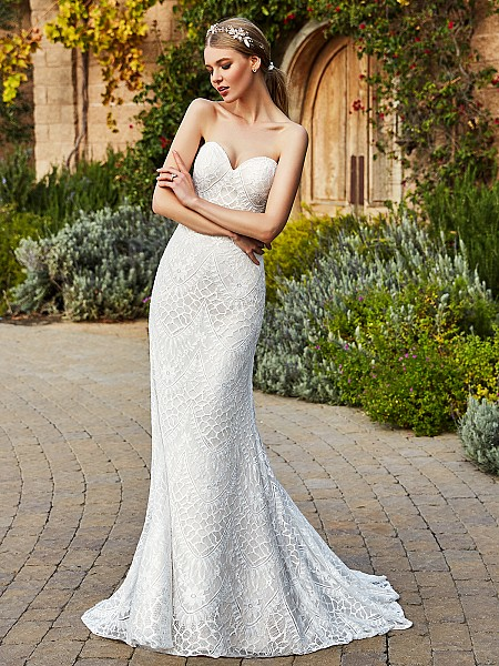 Simply Val Stefani DENA embroidered lace fabric mermaid bridal gown with strapless sweetheart neckline