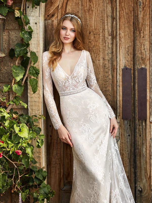Simply Val Stefani HELENA romantic unlined Chantilly lace deep V-neck bridal gown with long sleeves