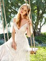 Simply Val Stefani JADE soft and romantic V-neck A-line wedding dress with thin straps and swag sleeves