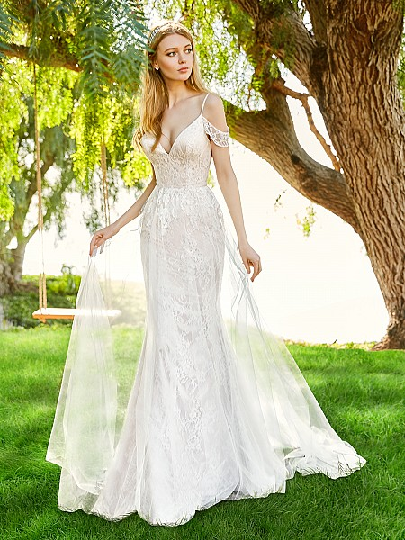 Simply Val Stefani JADE boho-inspired lace fabric A-line bridal gown with tulle overlay and swag sleeves