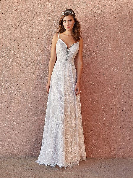 Simply Val Stefani LEONA bohemian Chantilly lace fabric full A-line wedding dress with V-neck and beaded belt