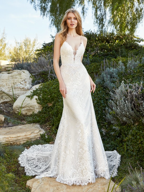 Simply Val Stefani MERA beautiful lace mermaid bridal gown with V-neckline and thin beaded straps and hem lace