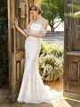 Simply Val Stefani OLYMPUS elegant mermaid bridal gown with off-the-shoulder neckline and re-embroidered lace appliques